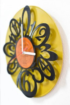 silver and gold vinyl wall clock