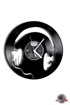headphones vinyl wall clock