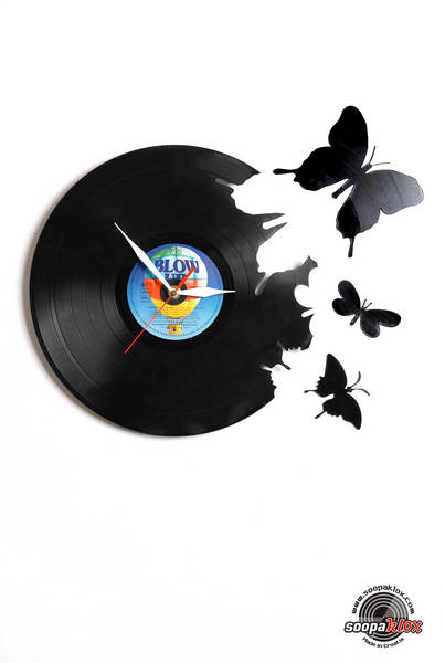 butterfly 1 vinyl wall clock